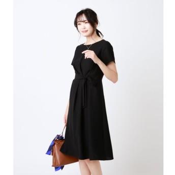 NEWYORKER / Summer Black Dress/バックサテンジョーゼット アシンメトリータックドレス