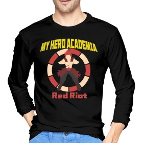 僕のヒーローアカデミア My Hero Academia Kirishima Eijiro Red Riot メンズ Tシャツ 長袖 カットソー ファッション カジュアル トップス 快適 無地 春秋 個性 丸首 ゆったり L