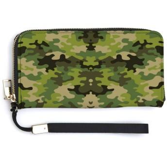 カモ(緑) ハンドストラップが付いているジッパーの長いクラッチの札入れの携帯電話の札入れの方法財布