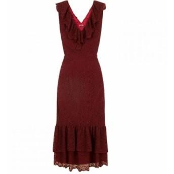 チチ Chi Chi レディース パーティードレス ミドル丈 ワンピース・ドレス Lace Ruffle Detail Midi Dress Burgundy