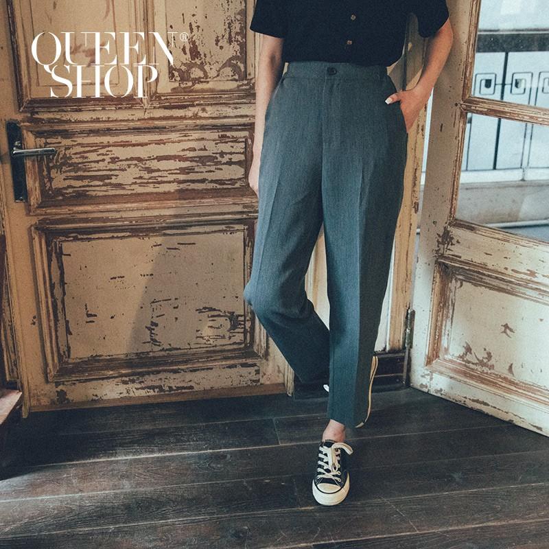 QUEENSHOP_ S 燙線俐落小腳西裝褲 三色售 S/M/L/XL 現+預 【04030253】