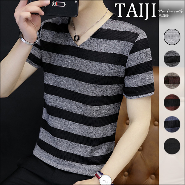 大尺碼V領針織短T‧質感條紋V領針織網布短袖上衣‧六色‧加大尺碼【NTJBM515】-TAIJI