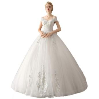 ブライダルウェディングドレスレディーズ ウエディングドレス オフショルダーの花のレースのアップリケ床の長さのウェディングドレスのウェディングドレスエレガントなコルセットドレスブライダルドレス 着心地がとても良いです (色 : 白, Size : M)