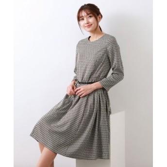 AMACA/アマカ ジオメトリックプリントドレス ブラック 40