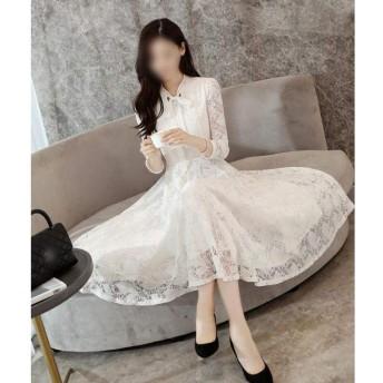 長袖スリムスリムロング気質のドレスレースのドレス (Color : White, Size : 2XL)