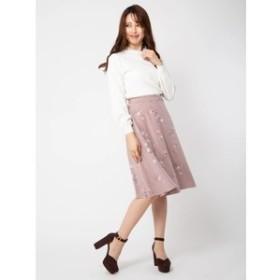 【BE RADIANCE:スカート】フラワープリントフレアスカート