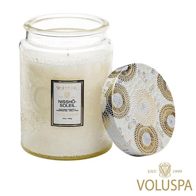 美國 VOLUSPA 日式庭園 Nissho Soleil 日光和煦 浮雕玻璃罐 香氛禮盒 453g