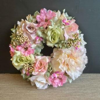 受注制作【春リース】八重桜とバラの春色リース M