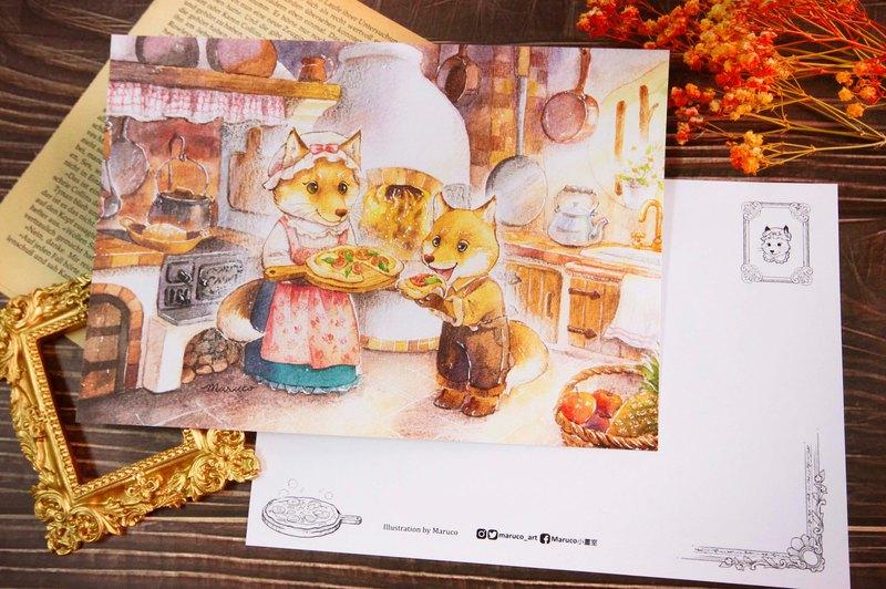 狐狸太太窯烤披薩屋-雙面大畫卡