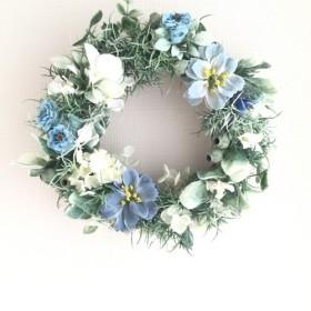 【送料無料 Creema限定】水色の花のリース A-1