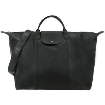 LONGCHAMP Le Pliage Cuir 系列小羊皮寬背帶短把折疊旅行包 黑