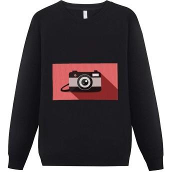 赤い カメラ 旅行 トレーナー メンズ カジュアル おしゃれな 人気 長袖 ティーシャツ 厚手 無地 裏起毛 暖かい ゆったり クルーネック スウェットシャツ 春秋冬 男女兼用