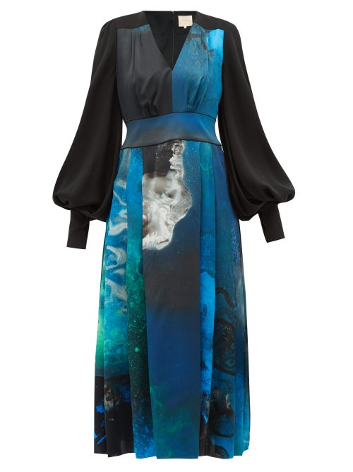 Roksanda - Teruko Balloon-sleeve Cosmic-print Silk Midi Dress - Womens - Blue Print