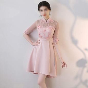 春のドレスメッシュの花エレガントなスリムショート宴会パーティードレス (Color : Pink, Size : M)