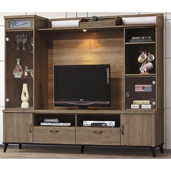 電視櫃 CV-395-3 樂比灰橡7尺高低櫃【大眾家居舘】