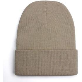 帽子 ソリッドユニセックスビーニー秋冬ウールブレンドソフトの暖かいニットキャップメンズ・レディース・スカルキャップ帽子Gorroスキーは24色ビーニーキャップ JPYLY (Color : ベージュ)