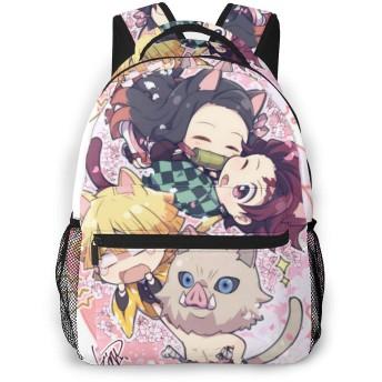 甘い子 カジュアルバックパック Casual Backpack Kimetsu No Yaiba Chibi2 Black One Size