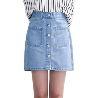 LilyAngel 夏の新しい韓国のシングルブレストハイウエストデニムスカートは薄いAラインスカートスカート野生でした (色 : 青, サイズ : S)