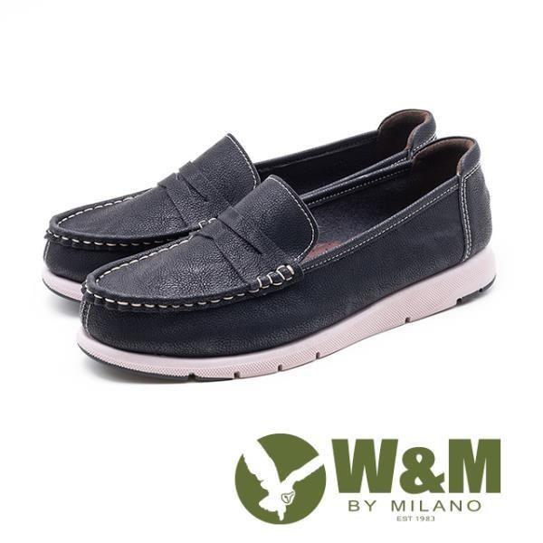 W&M 縫線裝飾休閒樂福鞋 女鞋黑 (另有棕)