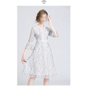 ラウンドネックトランペット袖の気質は長いセクションで細いでしたAラインスカート透かしレースのドレス (Color : White, Size : M)