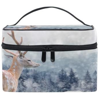 かわいい動物鹿スノーフレーク 洗面バッグ 化粧品収納バッグ 大容量 旅行 化粧キット