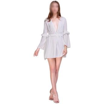 女性のドレス長袖ディープVネックミニドレスAラインドレス (Color : Red, Size : L)