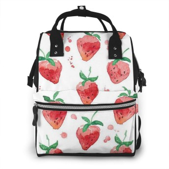 ミイラバッグ トートバッグ マザーズバッグ ママバッグ マザーズリュック いちご柄 ベビー用品収納 おむつポーチ 大容量 ポケット付き