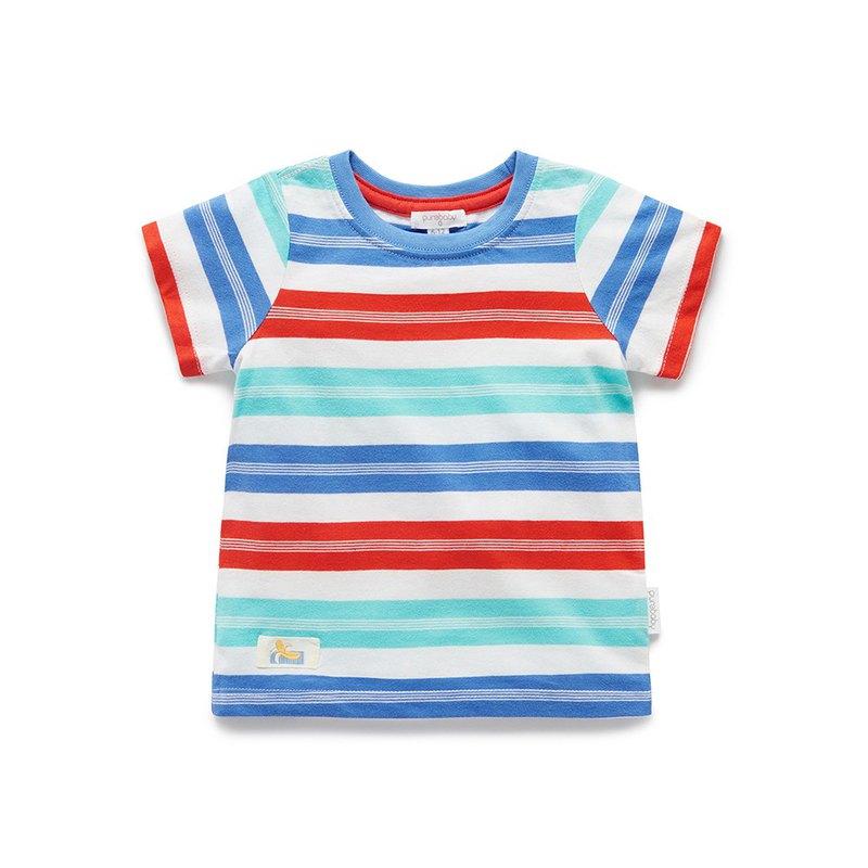澳洲Purebaby有機棉男童條紋短T/童裝上衣12月~4歲