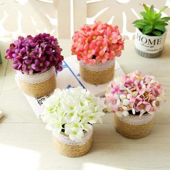 ポット人工花絹の花の造花と人工花の盆栽人工植物結婚式鉢植え用:ライトピンク