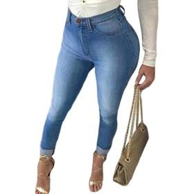 LilyAngel 女性ハイウエストストレッチジーンズデニムスキニーパンツ鉛筆のズボン (色 : 青, サイズ : M)