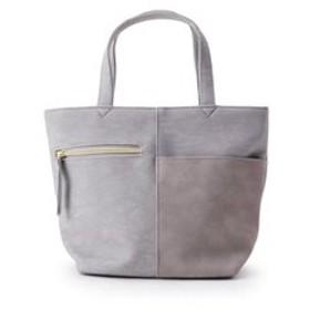 【HusHusH:バッグ】デニム風フェイクレザー切り替えランチトートバッグ