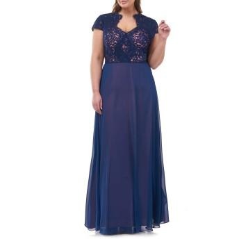 [ジェイエスコレクションズ] レディース ワンピース JS Collections Lace Split Neck Gown (Plu [並行輸入品]