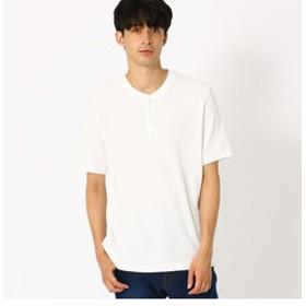 【COMME CA ISM:トップス】ワッフル ヘンリーネック Tシャツ