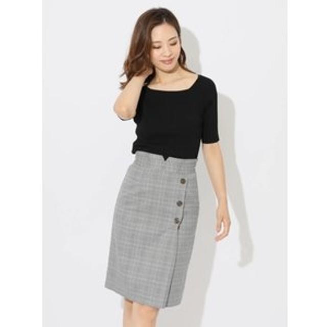 【Fabulous Angela:スカート】アシメ釦グレンチェックタイトスカート