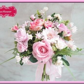 格安特価◆アートフラワー 造花◆ローズ&ガーベラのナチュラル クラッチブーケ 可愛らしいパステルピンク 花束アレンジ ウ
