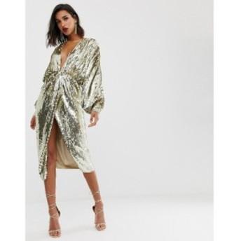 エイソス ASOS EDITION レディース ワンピース ミドル丈 ワンピース・ドレス batwing midi dress in sequin ゴールド