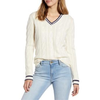 [ワンナインオーワン] レディース ニット&セーター 1901 V-Neck Wool & Cashmere Cable Sweate [並行輸入品]