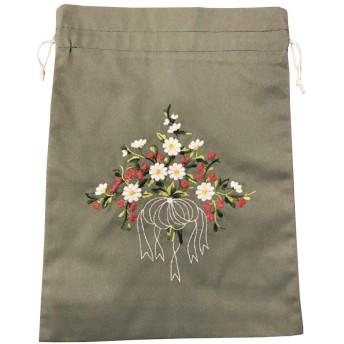 ベトナム 巾着 刺繍巾着 花柄 大サイズ ベトナム雑貨
