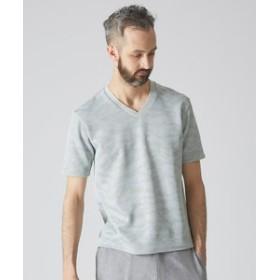 【ABAHOUSE:トップス】【Recency of Mine】サーマルカモフラジャガードVネックTシャツ