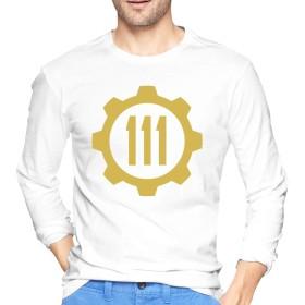 メンズ Tシャツ 長袖 ティーシャツ ロングスリーブ フォールアウトロゴ トレーナー ロンT クルーネック カットソー 薄手 部屋着 インナー おしゃれ シンプル 無地 カジュアル スポーツウエア トップス 4色 大きいサイズ