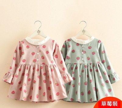 【連身裙2色】新款 女童90~140cm滿印草莓圓領長袖連身裙
