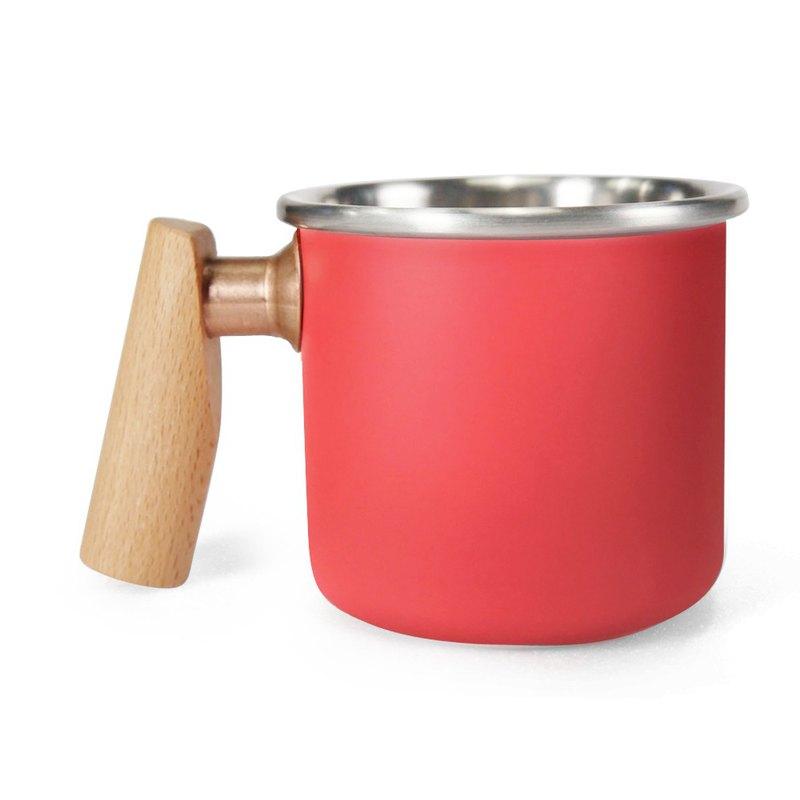 木柄 白鐵杯 400ml (胭脂) 聖誕節 情人節  紀念  禮物