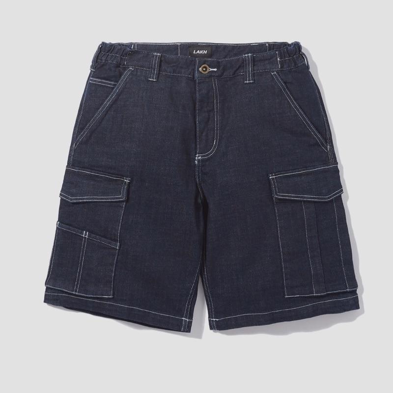 LAKH SUPPLY CARGO SHORTS DENIM NAVY 牛仔工作短褲