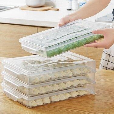 廚房速凍餃子盒冰箱水餃保鮮盒食物冷藏盒子收納盒不分格餛鈍托盤  ATF  極有家 聖誕節禮物