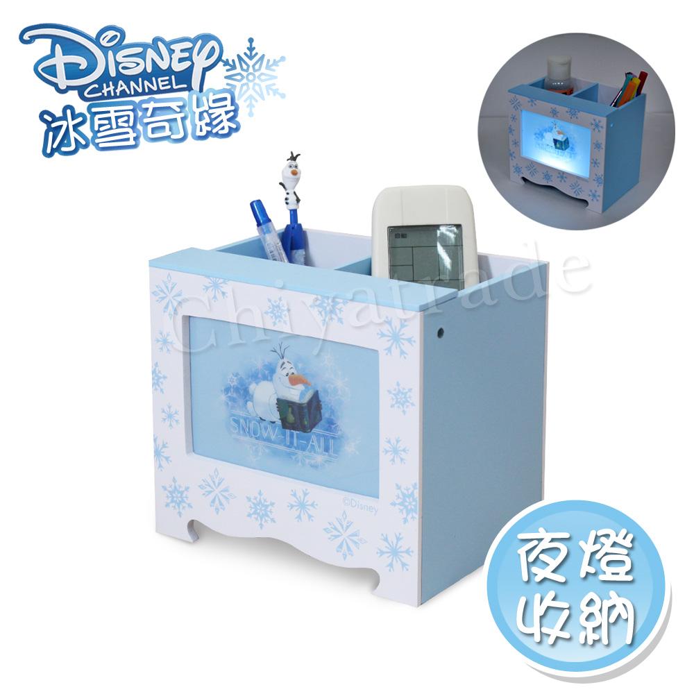 【迪士尼Disney】冰雪奇緣 雪寶 LED小夜燈收納盒 收納盒 筆筒 桌上收納(正版授權台灣製)