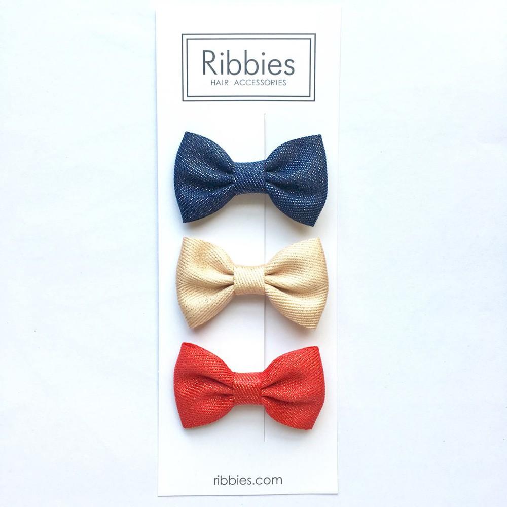 英國Ribbies 雪芙蘭緞帶閃亮蝴蝶結3入組-紅 金 海軍藍