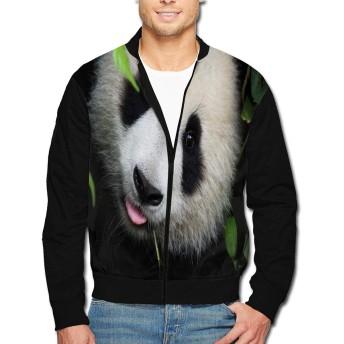 春秋冬ジャケット パーカー トップス中国四川パンダ メンズスタンドカラージャケット 余暇は個性に満ちています、ジッパーデザインとパーソナライズされたプリントパターン L