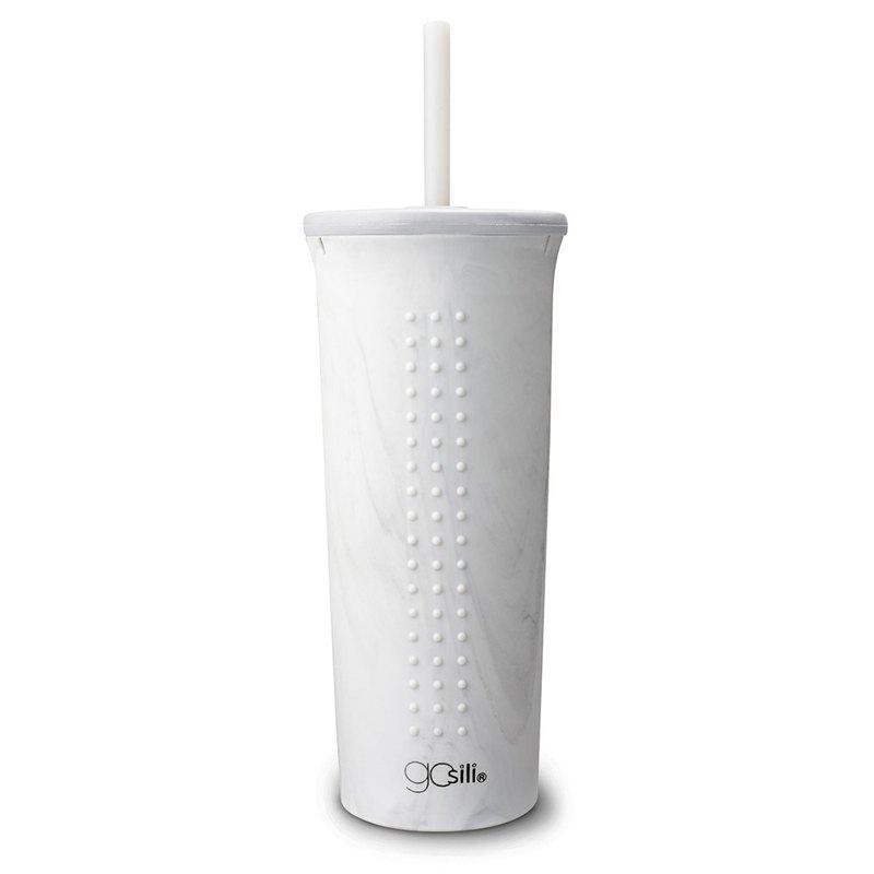 美國GoSili鉑金矽膠(24oz)TOGO吸管隨行杯(白色大理石)