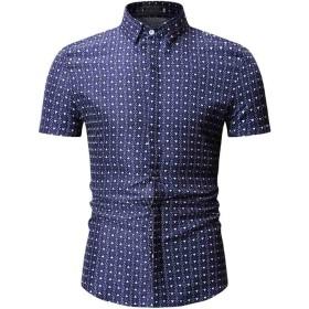 ワイシャツ メンズ, XXXL, ダークブルー 114 (花柄 ワイシャツ 花柄 Yシャツ 花柄 開襟シャツ 花柄 シャツ, 花柄 長袖 花柄 半袖 花柄 オーバーシャツ 花柄 トップス)
