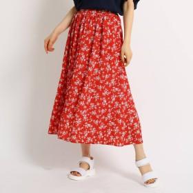 THE SHOP TK(Women)(ザ ショップ ティーケー:レディース)/花柄切り替え楊柳スカート